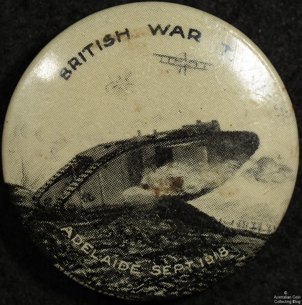 British War Tank Adelaide Sept 1918 Tin Badge
