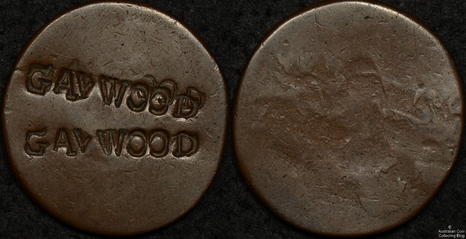 Counter Stamped 8.4g Bronze Disk GAV WOOD