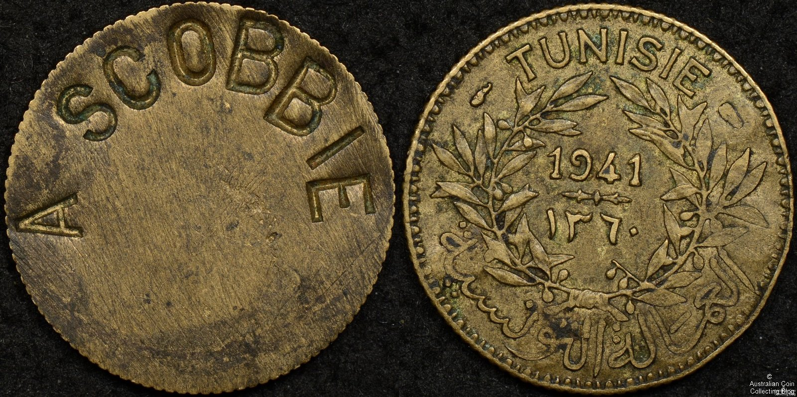 1941 Unofficial ID Tag on 1941 Tunisia 50 Centimes
