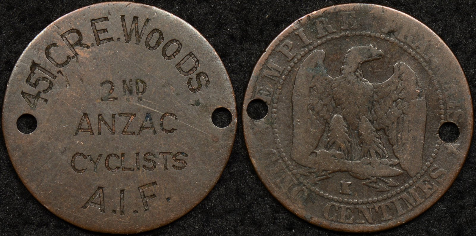 Australian World War 1 Identity Disk – C.R.E Woods 457