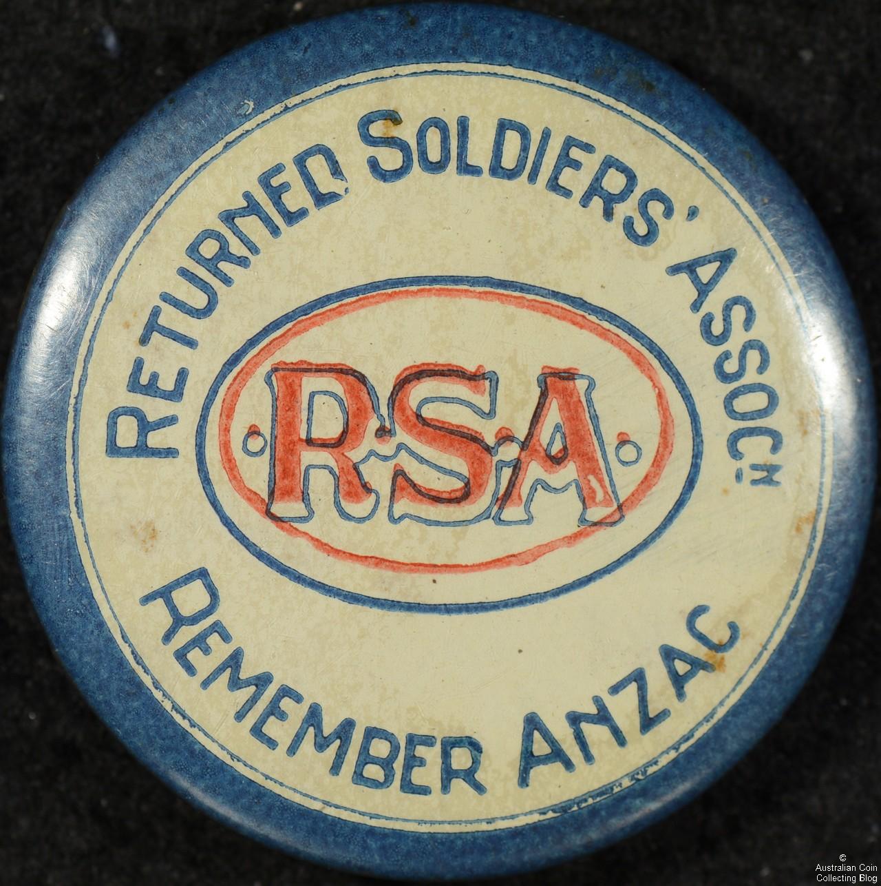 Returned Soldiers ASSOCn RSA Tin Badge
