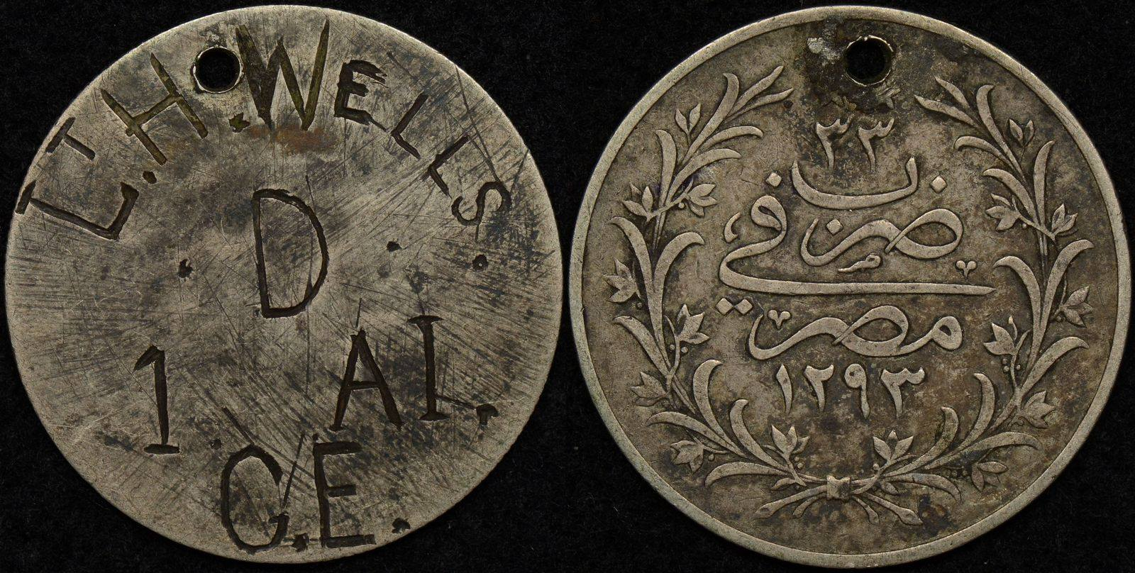 Australian World War 1 Identity Disk and Aluminium ID Tag – Lt. H. Wells