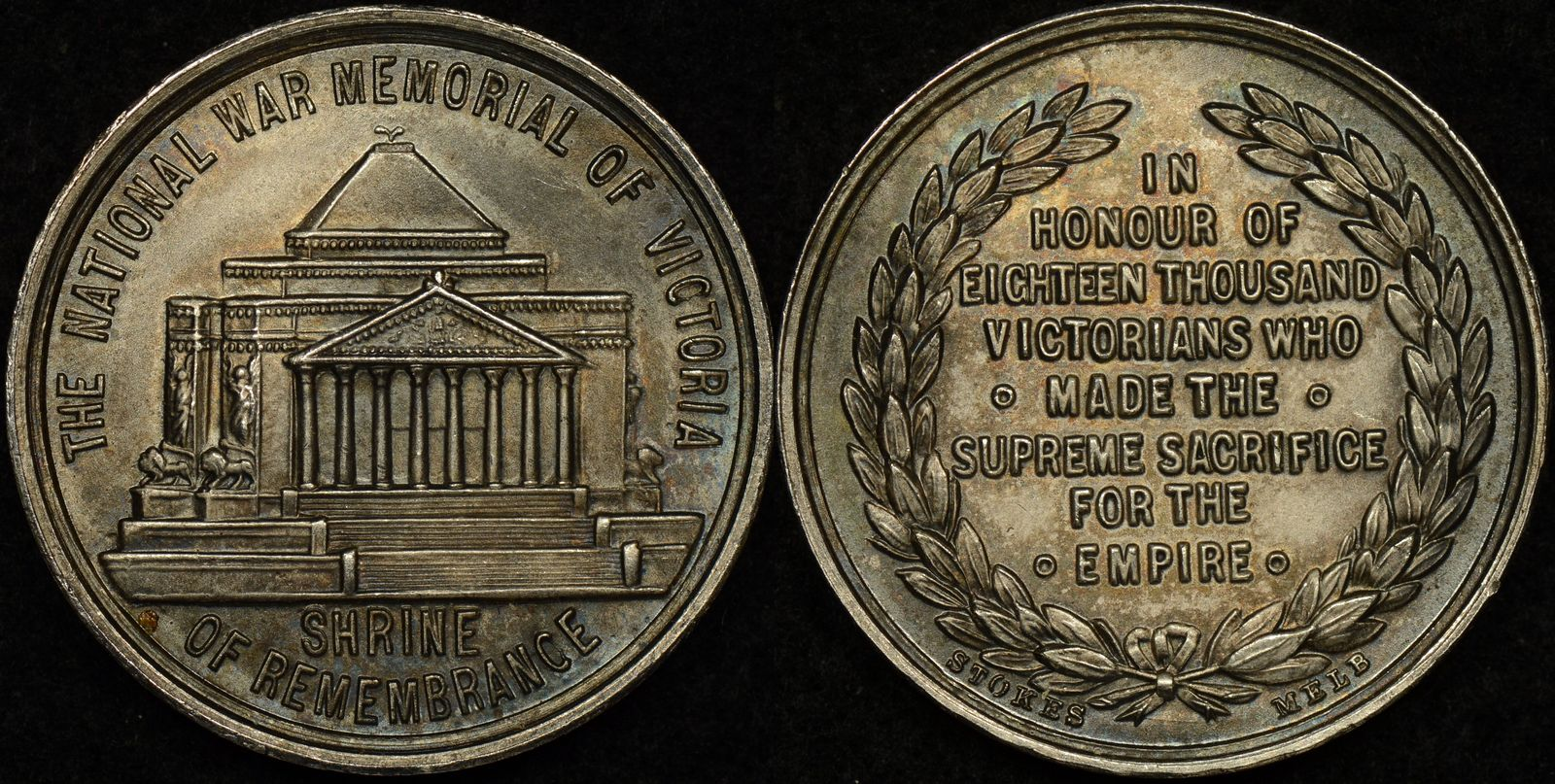 1934 National War Memorial of Victora – Shrine of Remembrance Silver Medal