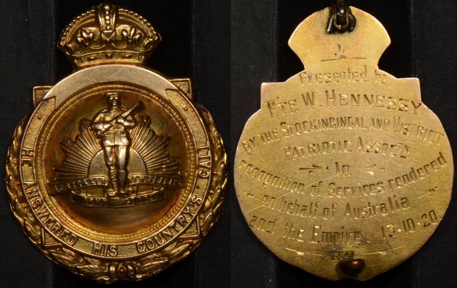 Australian World War 1 15ct Gold Return Fob William Hennessy 87037