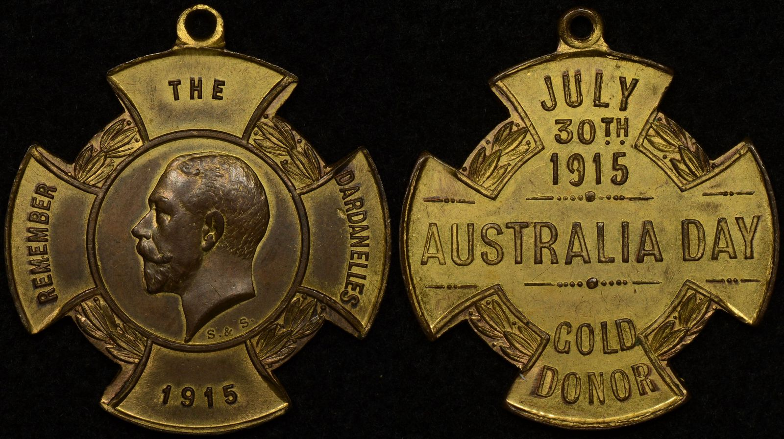 Australia 1915 Remember the Dardanelles Australia Day Gold Donor Medallion