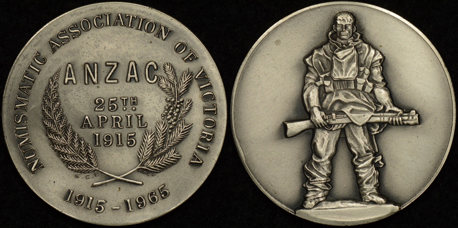 Numismatic Association of Victoria 1965 ANZAC Day Golden Jubilee Silver Medal