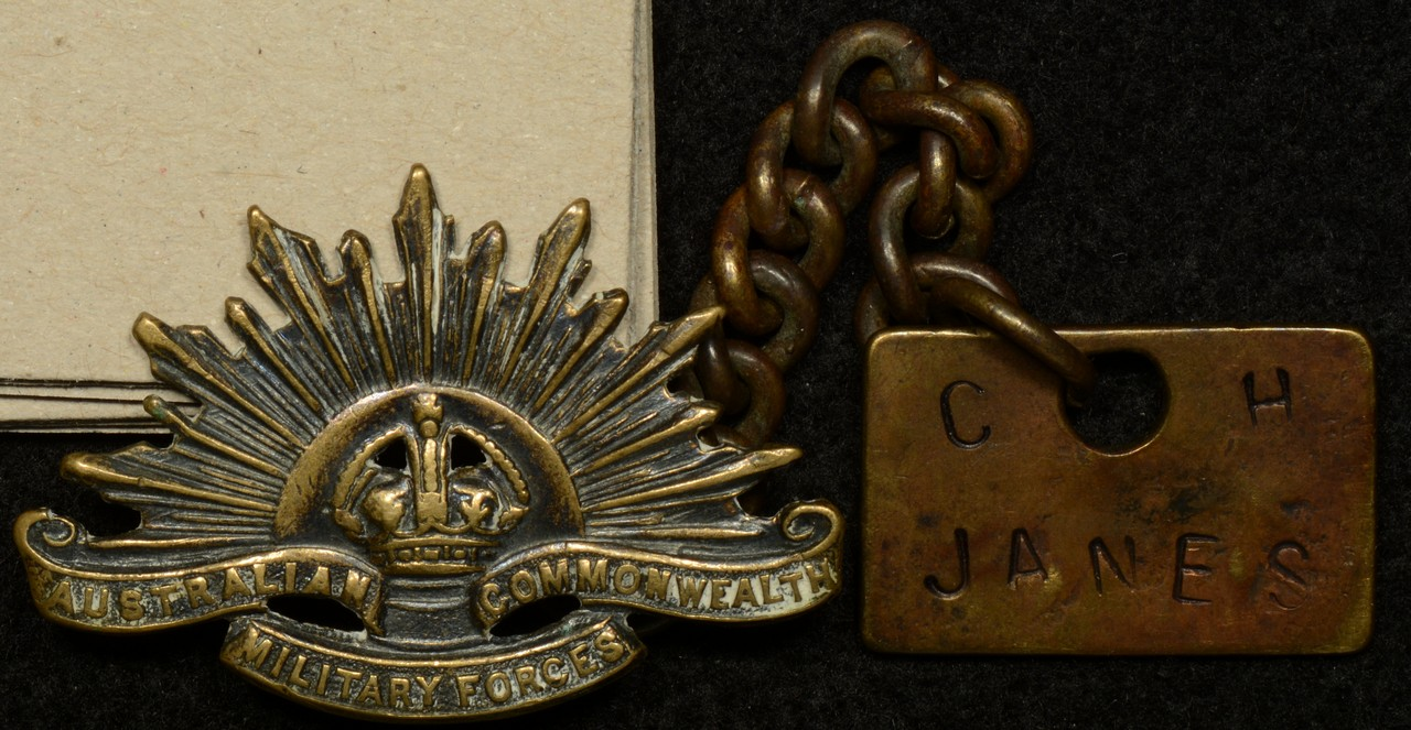 Australian World War 1 Identity Tag and Rising Sun Badge – C.H. Janes 247