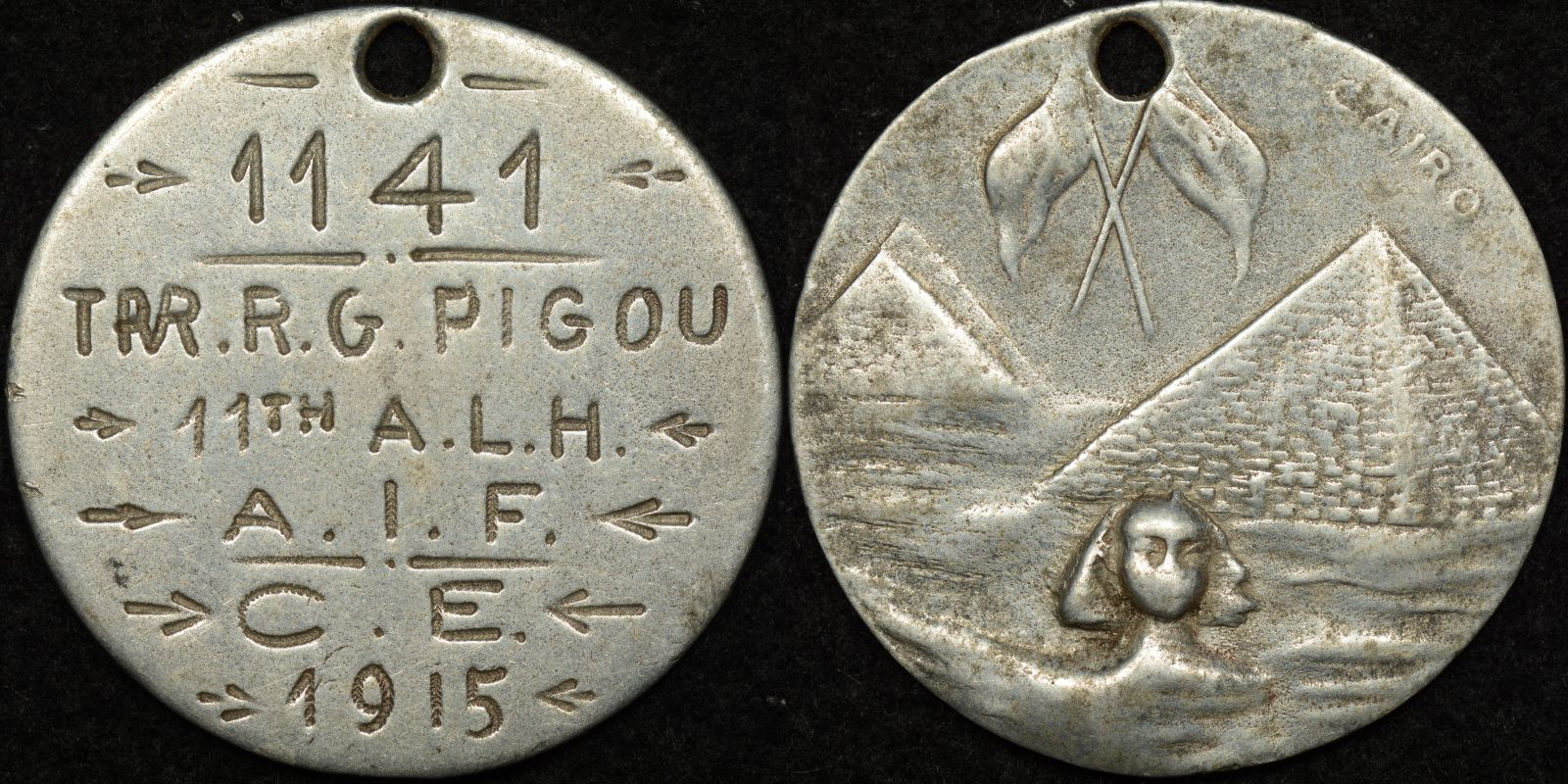 Australian World War 1 Army Identity Tag – R.G. Pigou 1141