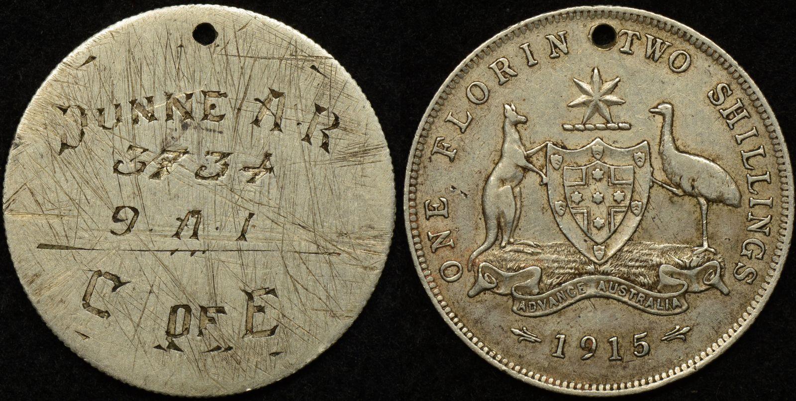 Australian World War 1 Army Identity Tag – Dunne A.R. 3734